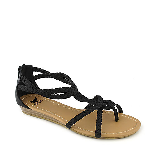 Shiekh Touch-S black flat gladiator strappy sandal