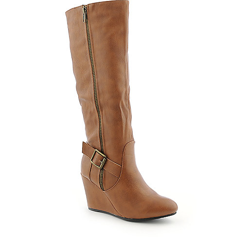 Wild Diva Colette-16 womens knee high wedge high heel boot