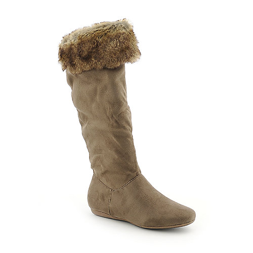 Wild Diva Moss-01 womens flat knee high fur boot