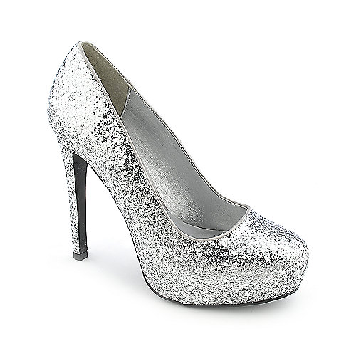 Delicious Yaris-H womens silver glitter high heel platform dress shoe