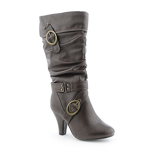 Delicious Visit-S womens mid calf high heel western/riding boot