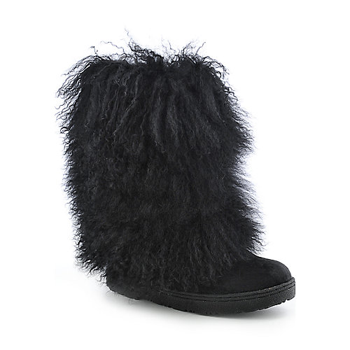 BearPaw Boetis II womens mid calf fur low heel flat boot