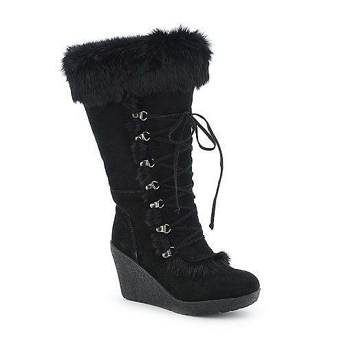 BearPaw Genoa platform knee high wedge fur boot