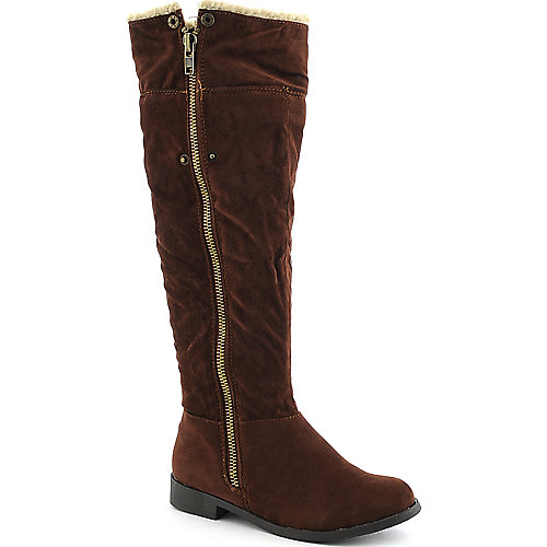 Bamboo Pleasant-17 womens knee high low heel fur boot