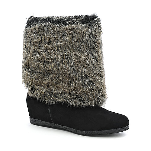 Bamboo Soprano-08 womens knee high fur high heel wedge boot