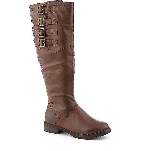 Yoki Sarah womens mid calf low heel western/riding boot