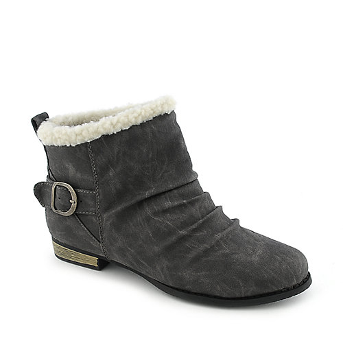 Wild Diva Vari-01 womens ankle bootie low heel fur
