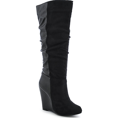 Diva Lounge Lorelel-11 womens knee high wedge high heel boot