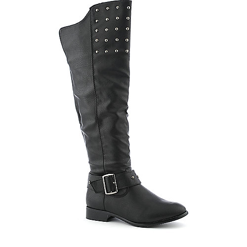 Yoki Romona womens western/riding knee high low heel boot
