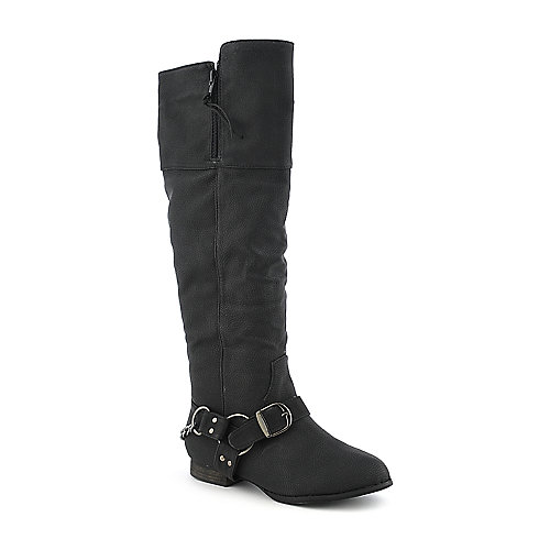 Yoki Wind-14 black low heel knee high riding boot