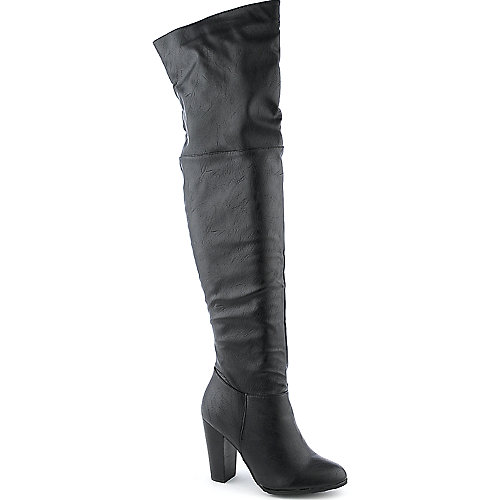 Dollhouse Womens Kourtney Black Thigh High Heel Boots