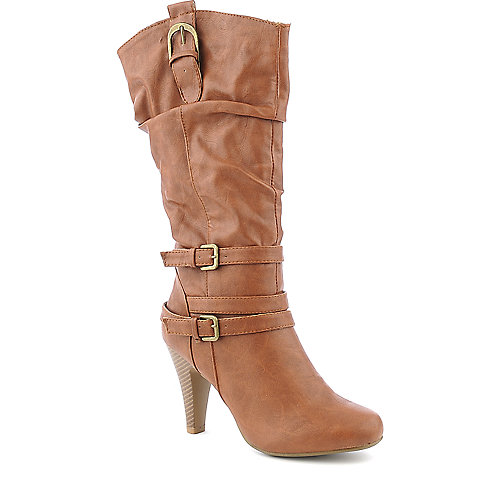 Bamboo Valencia-12 mid calf brown high heel boot