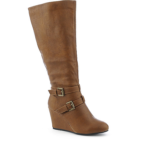 Wild Diva Colette-26 cognac wedge knee-high boot