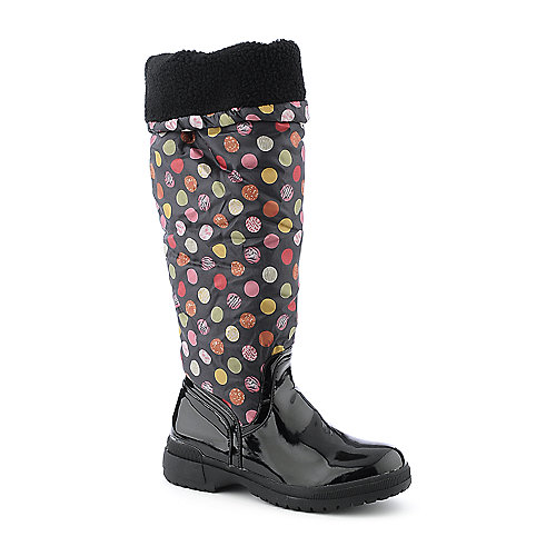 De Blossom Malak-2 black knee high low heel rain boot