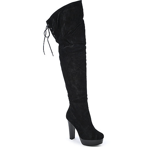De Blossom Wilona-3 black platform high heel boot