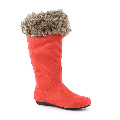 De Blossom System-1 thigh high flat fur boot