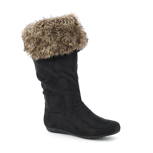 De Blossom System-1 black thigh high flat fur boot