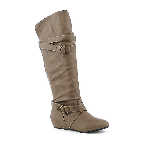 Wild Diva Candies-64 taupe knee high wedged riding boot