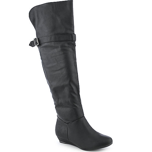 Diva Lounge Iona-20 black low heel wedged knee high boot