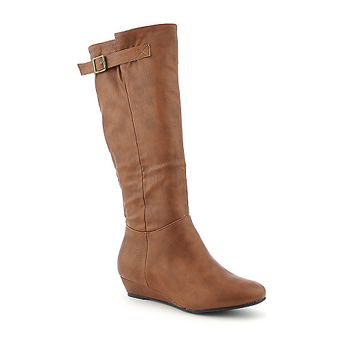 Diva Lounge Iona-02 cognac knee high low heel wedge