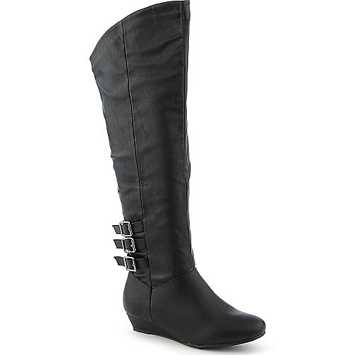 Diva Lounge Iona-14 womens thigh high black low heel wedge boot