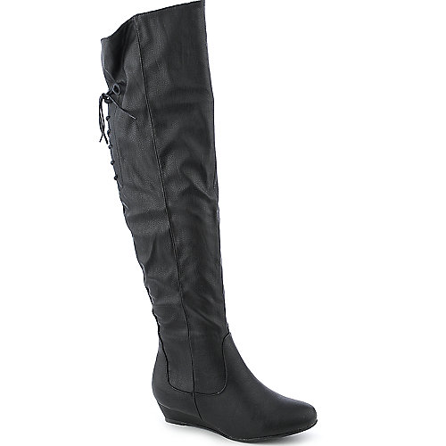 Diva Lounge Womens Iona-22 Black Knee High Wedge Boots