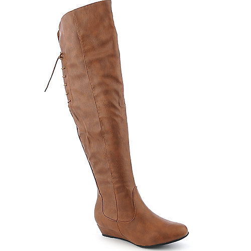 Diva Lounge Iona-22 cognac knee high low heel wedged boot