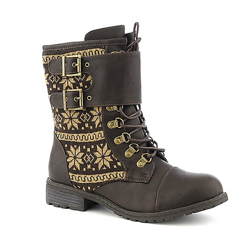 Pierre Dumas Almond-3 brown mid calf combat boot