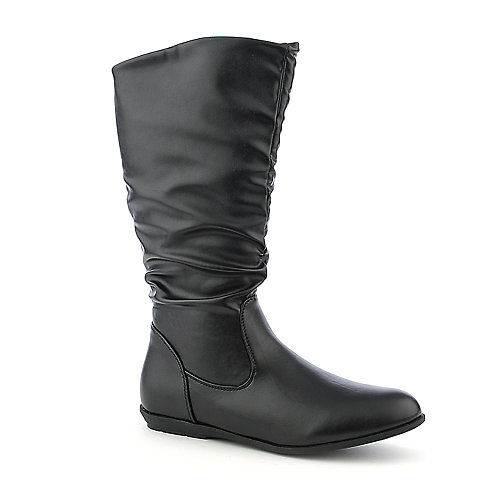 Pierre Dumas Elda-1 vegan leather black mid calf flat boot