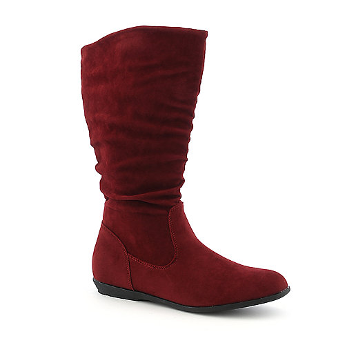 Pierre Dumas Elda-1 red mid calf flat boot