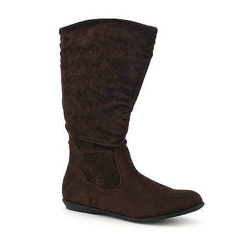 Pierre Dumas Elda-1 brown mid calf flat boot