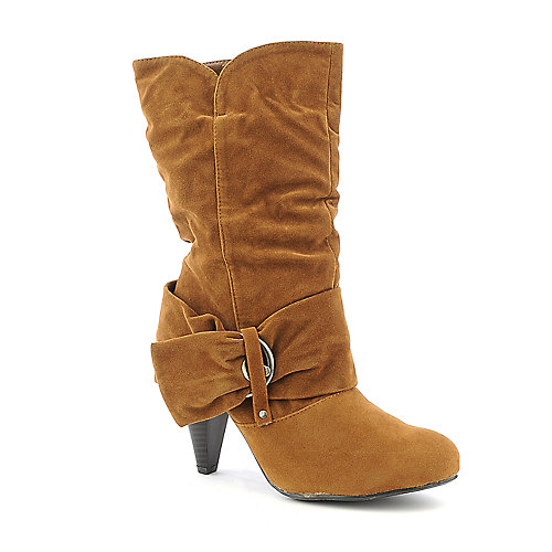 Pierre Dumas Omega-9 tan mid calf high heel boot