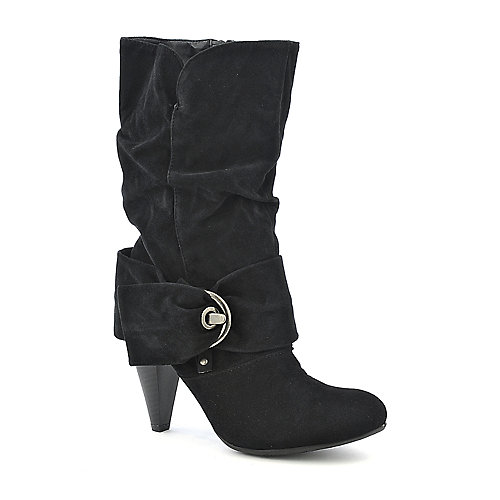 Pierre Dumas Omega-9 black mid calf high heel boot