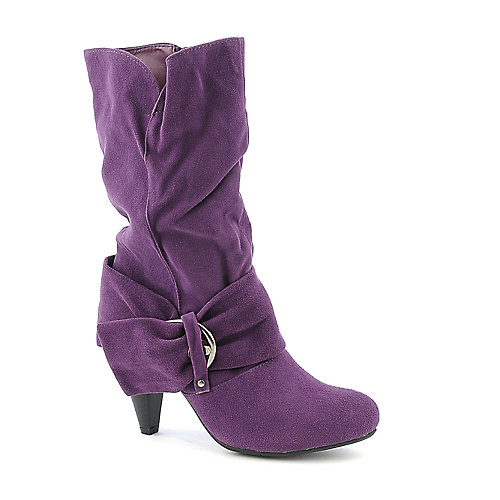 Pierre Dumas Omega-9 purple mid calf high heel boot