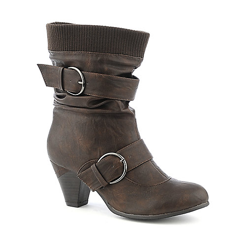 Pierre Dumas Rosina-1 brown vegan leather mid calf high heel boot