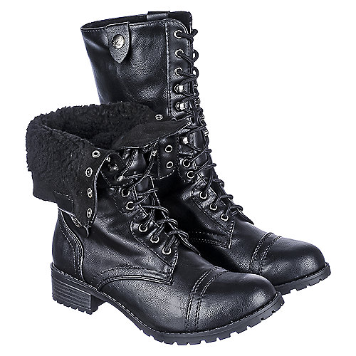 Shiekh Womens Oralee-S black fold over fur combat boot