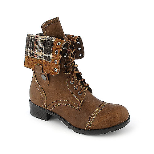 Shiekh Womens Oralee-S brown plaid fold over combat boot