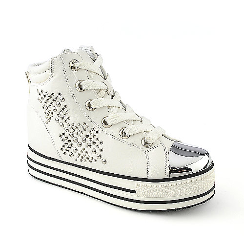 Shiekh Tillo-S white lace up platform wedge casual sneaker