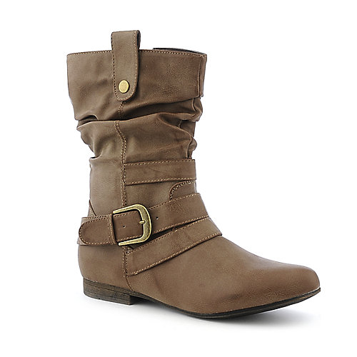 DbDk Meley-8 taupe western low heel mid calf riding boot