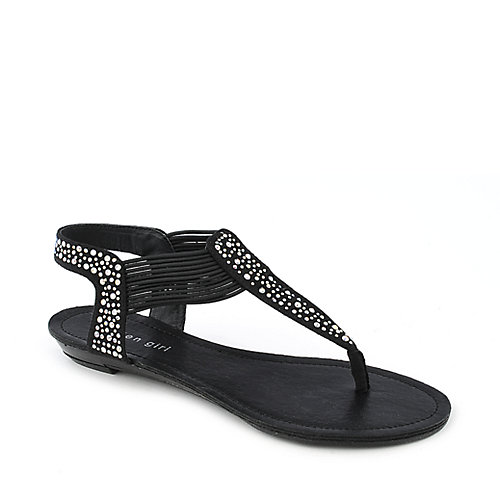 Madden Girl Tanduum black flat thong t-strap sandals