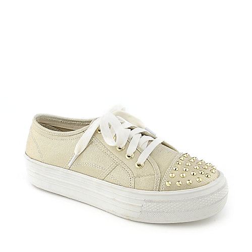 Madden Girl Bookie gold platform lace up sneaker