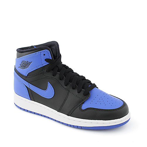 Nike Air Jordan 1 Mid black and blue youth athletic basketball sneaker