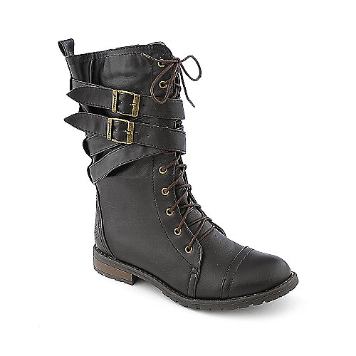 Groove Canyon womens mid-calf low heel military/combat boot