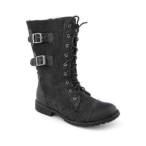 Groove Force womens mid-calf low heel military/combat boot