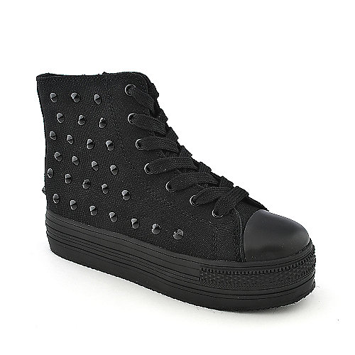Shiekh A-LS1394 black casual lace up platform sneaker