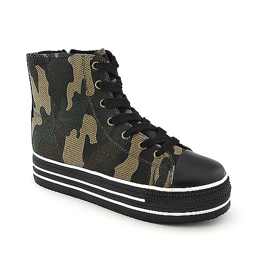 Shiekh Womens Plat camo casual lace up platform sneaker
