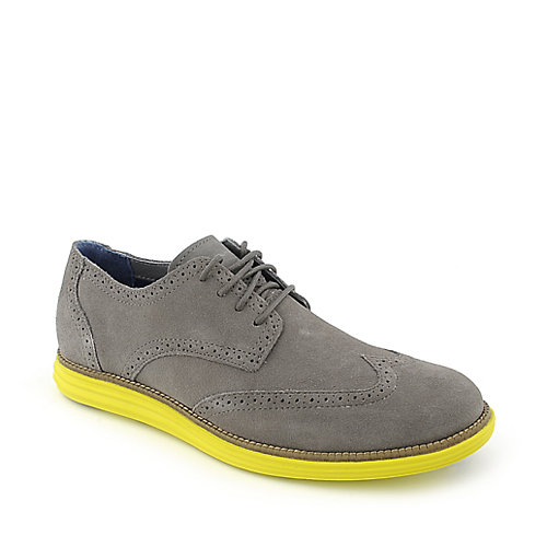 Grey and yellow dress shoes