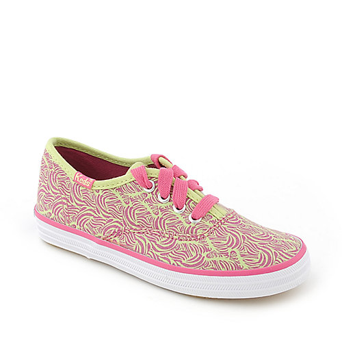 Keds Original Champion green and pink toddler casual sneaker