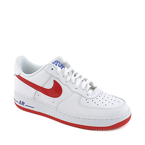 Nike Air Force 1 mens white and red athletic basketball sneaker