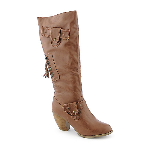 Bamboo Bongo-06 womens tan knee high western high heel boot